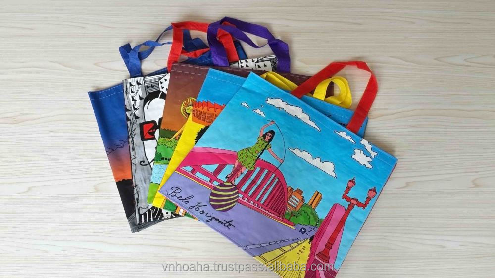 high quality custom made and printed eco friendly promotional and reusable bopp laminated pp woven shopping bag in vietnam