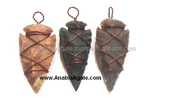 Gemstone Arrowhead pendants : Fancy Jasper Copper Wire Wrapped Arrowhead Pendant