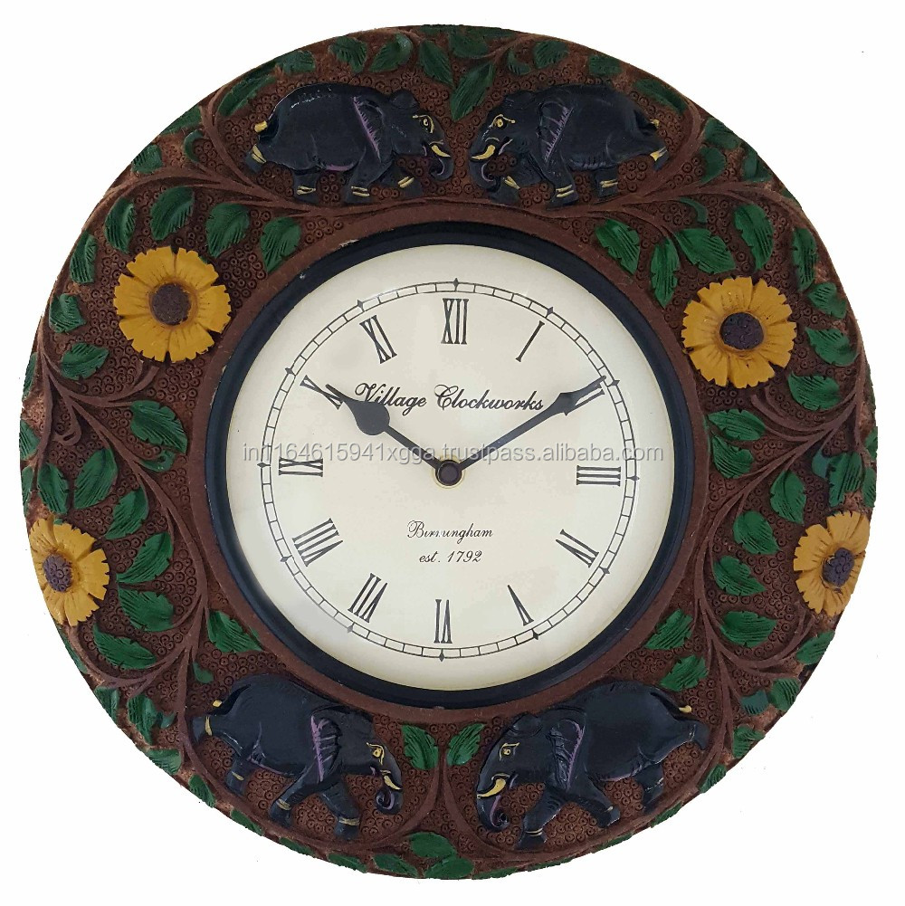 roman printed handcrafted Elephant Carved vintage look wooden wall clock