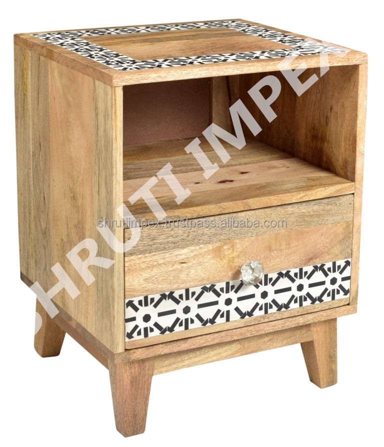Indian Handmade Modern 100 % Mango Wood Bone Fitting One Drawer Bed Side