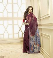 Printed Synthetic Georgette Sarees with Floral and Digital Print Sari