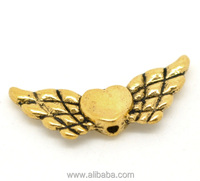 Gold Tone Heart Wings Charms Beads 22x9mm, sold per packet of 50
