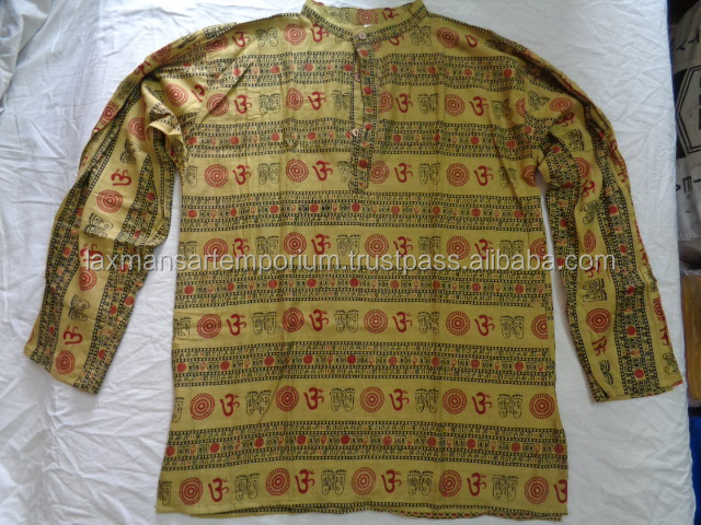 cotton om printed gents kurta shirts