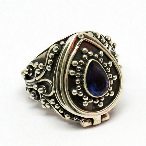 Poison Ring Embossing Setting Iolite 925 Sterling Silver Gemstone Ring, Indian Jewelry Manufacturer, Silver Jewelry India