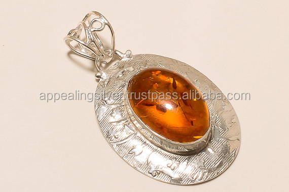Generous baltic amber oval shape gemstone 925 sterling silver cabochon pendant