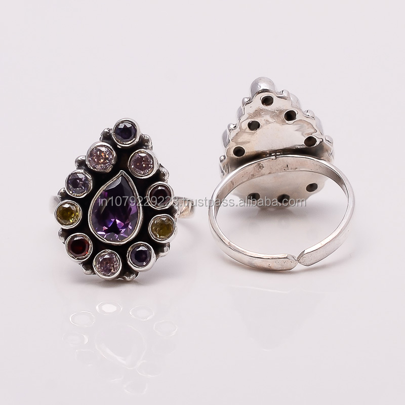 EXOTIC!! MULTI - STONE TOE RING ,925 sterling silver jewelry wholesale,SILVER JEWELRY FROM INDIA