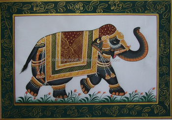 Elephant Silk Cloth Folk Animal art Forest Indian Miniature Painting