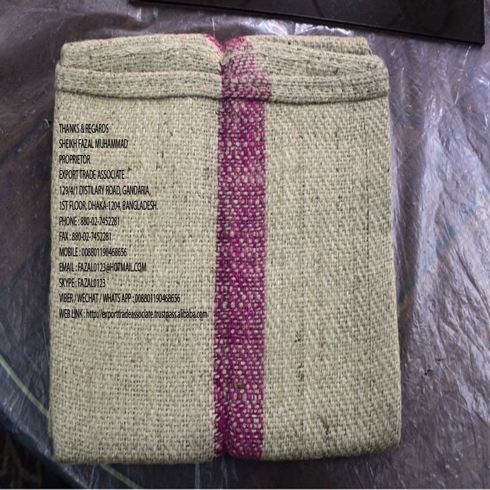 "NEW SUGAR TWILL JUTE BAGS 48""X28"", WT. 2.25 LBS PER BAG, PXS 6X9, 2"" MAGENTA STRIPE IN THE MIDDLE OF THE BAG, HD, OHDS, PACKING"