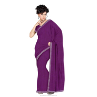 Indian Striking Purple Colored Lace Bordered Lycra Saree