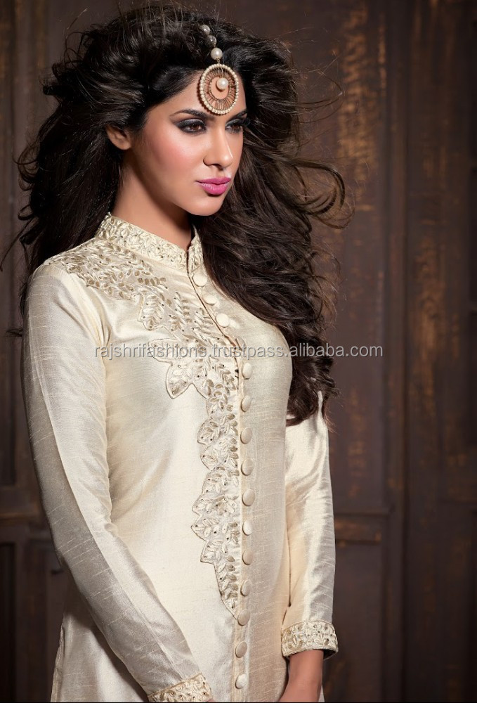 Lovely Snow color with silver embroidery rich work of neck long Designer Semi stitch Salwar Kameez