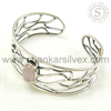 Shankar Silvex !! Rose Quartz 925 Wholesale Silver Bangle, Online Silver Jewelry , Fabulous Silver Jewelry BGCB1025-3