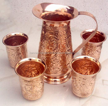 SET OF 100% PURE COPPER JUG WITH FOUR COPPER TUMBLERS FOR WATER, BEER, MOSCOW MULE, GINGER VODKA