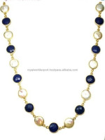 Gold Plated Sapphire & Fresh Water Pearl Bezel Necklace