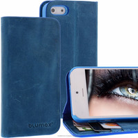 Geniune Leather Lucca Bookstyle case for iPhone 5S / 5 Antic Blue Cow Leather