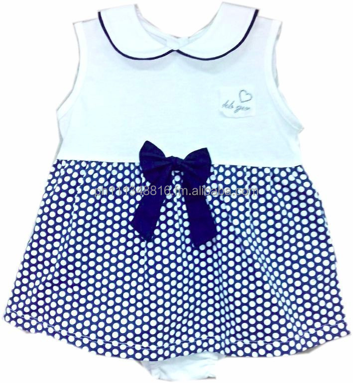Infant Baby Girl Clothes - Girls 2pc Panty Set Navy w/Big White Dots Print