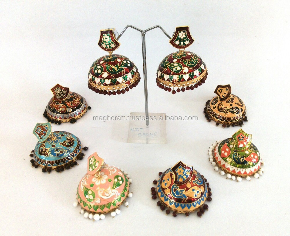 Wholesale meenakari jewelry - meenakari jhumka-Indian Traditional earrings-Party wear earring