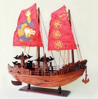HA LONG BAY YACHT WITH EMBROIDERED SAIL, VIETNAMESE FEATURE JUNK - WOODEN SHIP MODEL