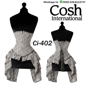 COSH INTERNATIONAL : White Striped Cotton Corset Supplier