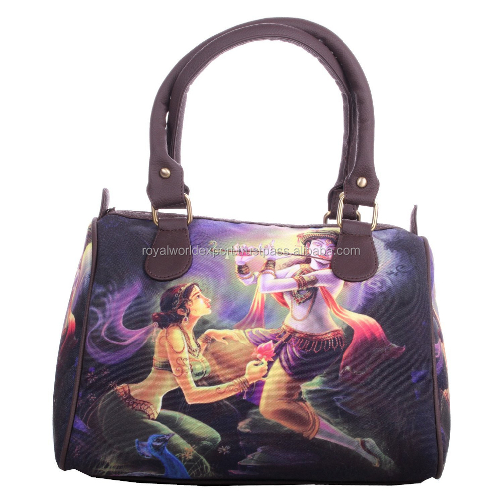 Customized Hot Fashion Professional Factory Supply Trendy Style Radha Krishan Digital Print Canvas Cheap Fashion Travel Handbag