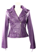Purple Color Smart Range Women's Brando Classic Motorcycle Genuine Cowhide Leather Jacket