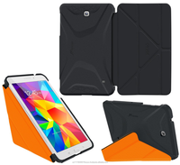 Ultra Slim Lightweight Smart Cover PC Shell Case w/ Tri-fold multiple views for Galaxy Tab S 8.0 roocase Origami (Black/Orange)