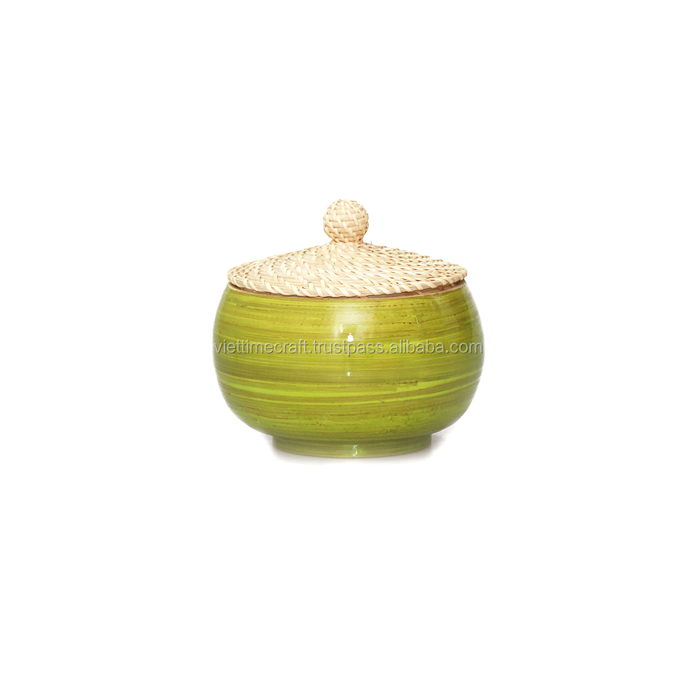 Spun bamboo box with rattan lid, bamboo tea canister, eco-friendly and non-toxic
