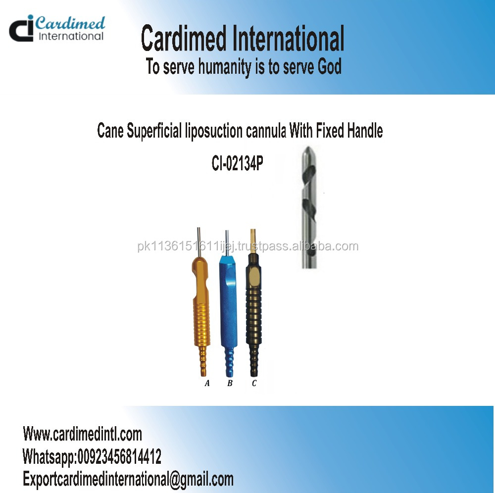Cane Superficial liposuction cannula With Fixed Handle / Plastic Surgery Instruments