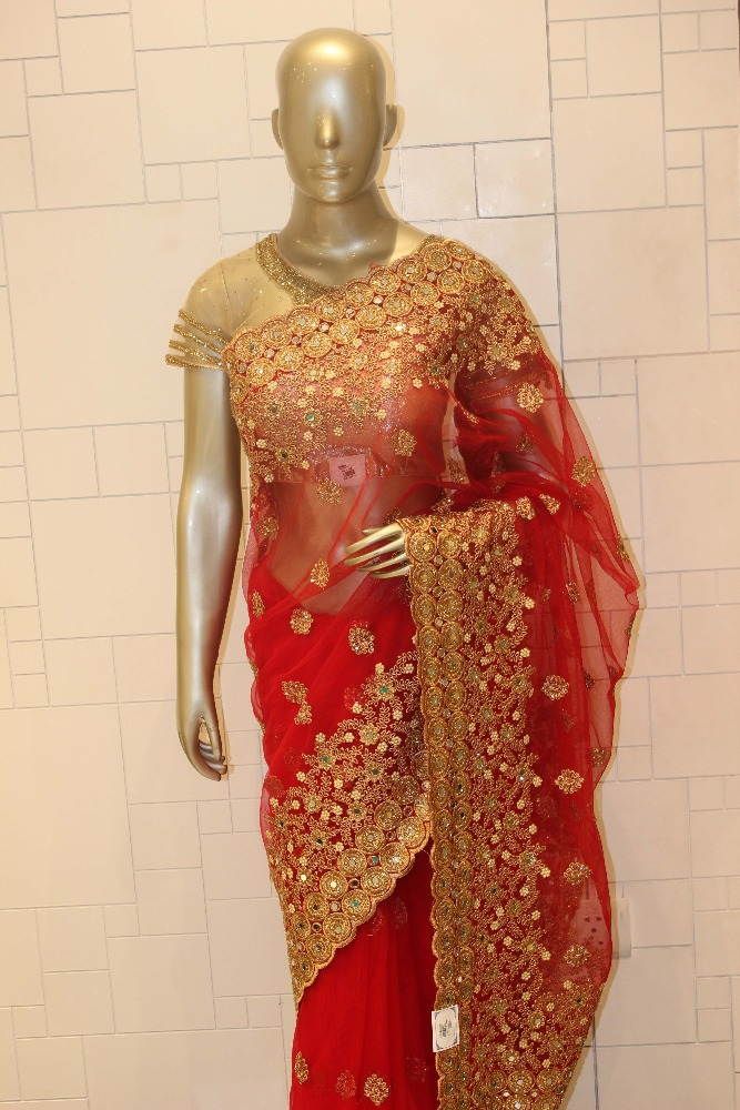 half and half net and brasso red and chiku color fancy lace border saree