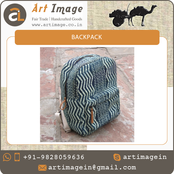 Fashion Canvas Backpack Bag with Indian Touch and Big Zip Pocket for Sale