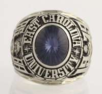 Men's Class Ring 10k White Gold Syn Sapphire L3546