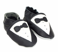 leather baby shoes With Black White Tuxedo