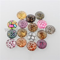 Animal Skin Printed Glass Cabochons, Half Round/Dome, Mixed Color, 10x4mm