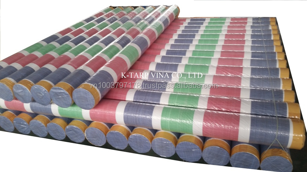 Colorful stripe Pe tarpaulin Roll packing, made in Vietnam - Dark Blue/Green/Red/White
