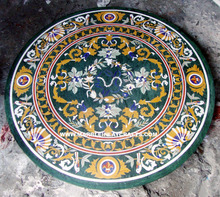 Inlay Pietra Dura Green Marble Dining Table Top, Designer Marble Inlay Table Tops