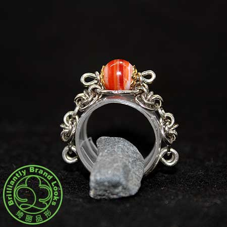 ChainStyle Ring In Red Line Agate
