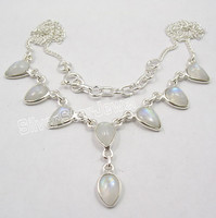 925 Solid Silver Real RAINBOW MOONSTONE Amazing DROPS Necklace WOMEN'S JEWELRY