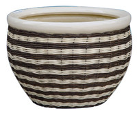 (CD06-2260/3) Weaving bamboo ceramic pot
