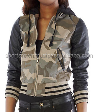 2015 New Fashion Woman Custom 100% Nylon Camo Varsity baseball Jackets with hood