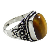 Tiger Eye Stone Silver Plated Size Ring Women Formal Fashion Jewellery SZ 6.75