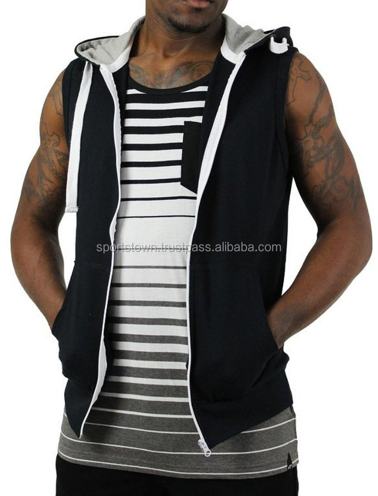Custom high quality mens style sleeveless hood , 2014 Mens fashion slim fit athletes hoodie sweatshirt