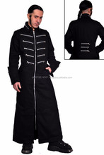 2015 GOTHIC BLACK MEN' LONG COAT WITH FRONTSIDE POCKETS STEAMPUNK GOTH COTTON MATERIAL