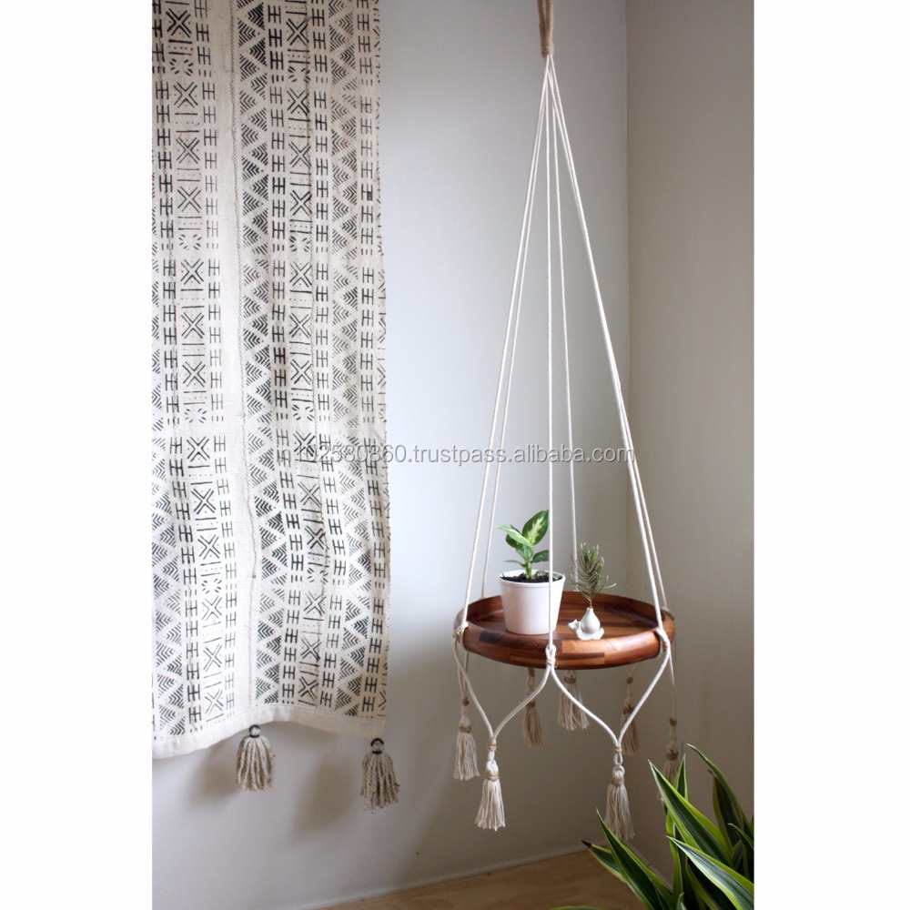 Macrame Plant Hanger Rope Plant Hanger Hanging Shelf Bohemian Home Decor