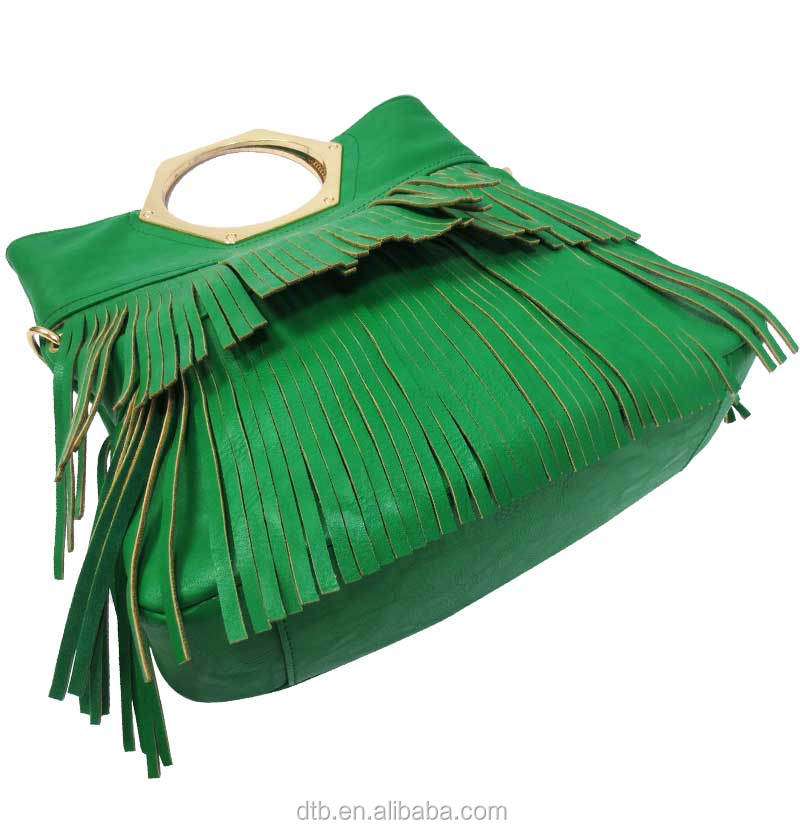 Fringe Shoulder Bag with PU & chain handle