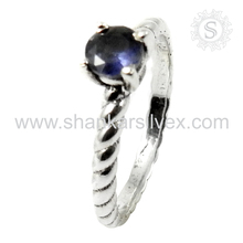 New Connection Iolite Prong Ring For Ladies 925 Silver Jewelry Wholesale Gemstone Silver Jewelry India