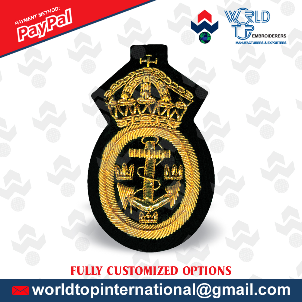 Blazer Badge / Custom Hand Embroidery Badge / Hand Crafted Bullion Badge / Family Crest Made by one of the forefather company