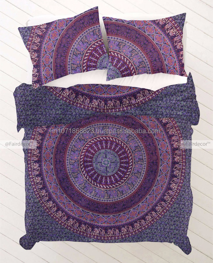 Purple Mandala Duvet cover Indian Bohemian Doona Quilt Blanket Cover with pillowcase
