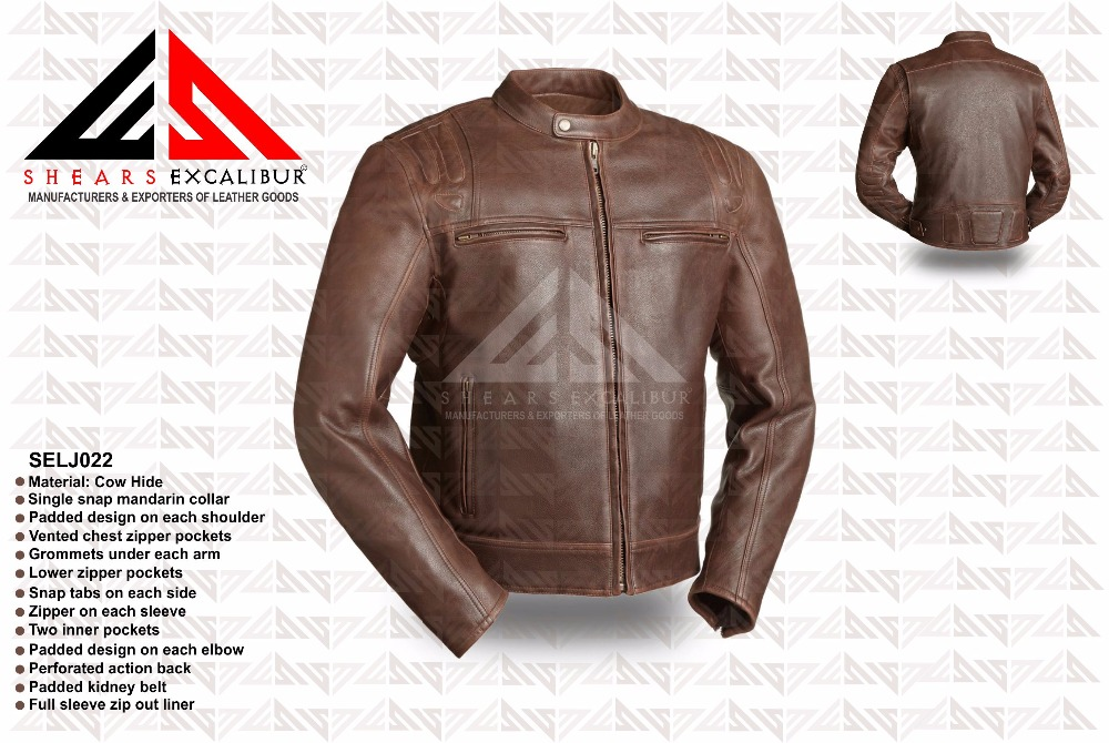 Hot 100% Genuine Men's Leather Jacket Fashion Scooter Style Sexy Top Designed Slim Fit Men Jacket