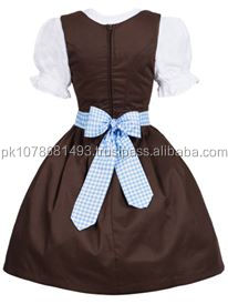 Ripe 2012 High Quality Cotton Check Bavarian Dirndls, German Dirndl Dresses for Girls, Dirndl Costume for 2014 Oktoberfest