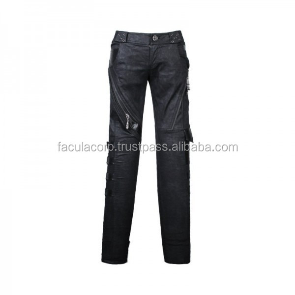 GOTHIC BLACK COLOR COTTON PANTS WITH BUCKLE AND ZIPPERS FOR WOMEN FASHION TROUSER FC-4732
