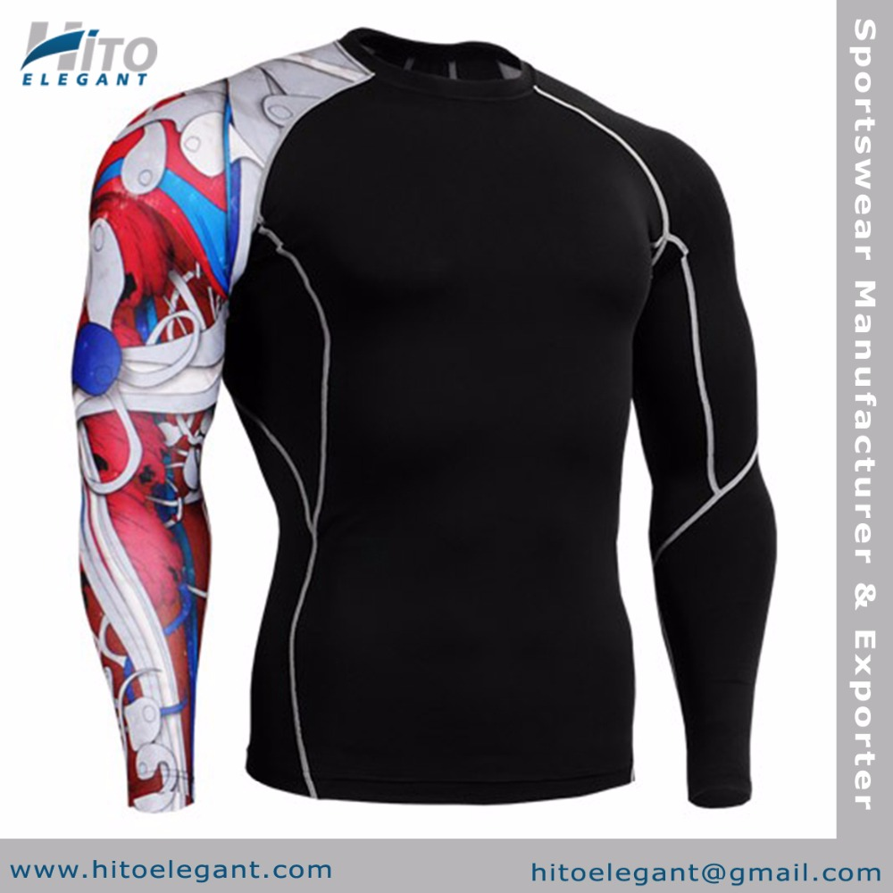 Sports Compression Tight Shirt Base layer Running Top Shirt Men Custom Long Sleeve Fitness Compression HE-BL-2045